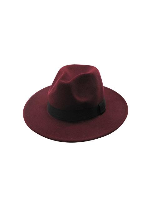 Laslusa İçten Ayarlanabilir Keçe Panama Fötr Şapka Bordo